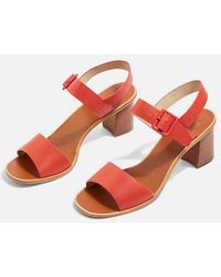 4266a31d9c47 Topshop Nancy Chunky Wooden Sandals in Brown - Lyst