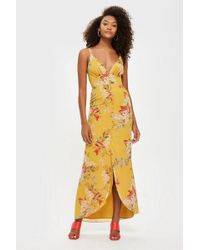 Hope and Ivy - yellow Floral Low Cut Maxi Dress By Hope & Ivy - Lyst