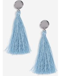 TOPSHOP - Pastel Blue Stud And Tassel Earrings - Lyst