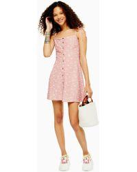 TOPSHOP Petite Pink Button Mini Dress