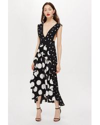 TOPSHOP - Petite Black Spot Pinafore Dress - Lyst