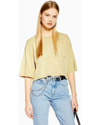 6001780a TOPSHOP Basic Roll Sleeve Crop Tee in Blue - Lyst