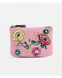 TOPSHOP - Nude Floral Embroidered Zip Top Purse - Lyst