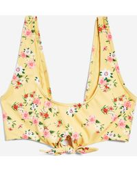 a66cdb72e9808 Lyst - TOPSHOP Floral Print Tie Side Bikini Bottoms in Yellow