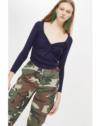 TOPSHOP - Knot Front Top - Lyst