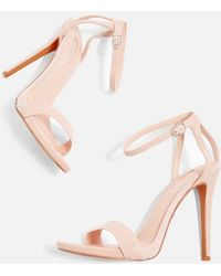 TOPSHOP - Rapture Nude Two Part Skinny Heeled Sandals - Lyst