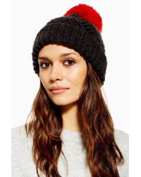 TOPSHOP - Chevron Knitted Red Pom Pom Beanie - Lyst