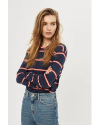 TOPSHOP - Colour Striped Long Sleeve Crew Neck - Lyst