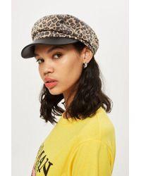 TOPSHOP - Leopard Print Baker Boy Hat - Lyst