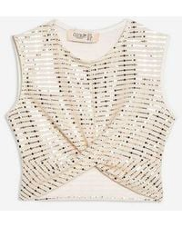 86b256998be3c Club L baroque Geometric Sequin Crop Top By in White - Lyst