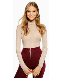 TOPSHOP - Long Sleeve Funnel Neck Top - Lyst