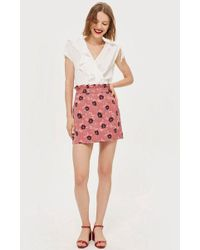 TOPSHOP - Tall Poppy Print Jacquard Mini Skirt - Lyst