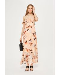 TOPSHOP - Floral Bardot Maxi Dress By Yas - Lyst