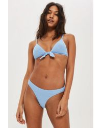 TOPSHOP - Ribbed Tie Front Triangle Bikini Top - Lyst