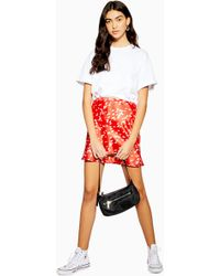 312126fee8 TOPSHOP Petite Mini Floral Lace Pleated Skirt in Black - Lyst