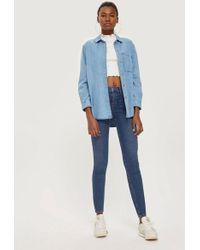 TOPSHOP - Moto Rich Blue Jamie Jeans - Lyst