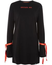 Illustrated People - 'drink Me' Embroidered Slogan Dress - Lyst