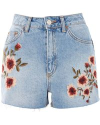TOPSHOP - Moto Blossom Embroidered Mom Jeans - Lyst