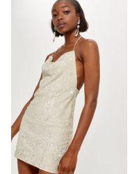 TOPSHOP - Brushed Sequin Cowl Neck Dress - Lyst