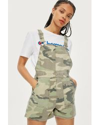 TOPSHOP - Camouflage Short Dungarees - Lyst