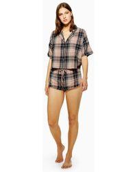 TOPSHOP - Brushed Check Pyjama Set - Lyst