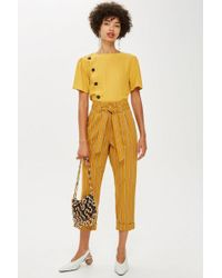 TOPSHOP - Stripe Belted Trousers - Lyst
