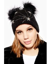 64edfc05dae4d Lyst - TOPSHOP Bow Detail Earmuffs in Black