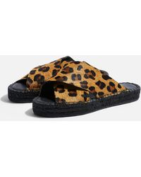 TOPSHOP - Freddy Leopard Espadrille Sandals - Lyst