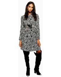TOPSHOP - Zebra Print Coat - Lyst