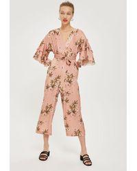 TOPSHOP - Floral Print Frill Jumpsuit - Lyst