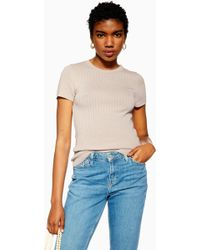 e5f64300754aa0 Lyst - TOPSHOP Petite Ribbed T-shirt in White