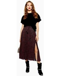 TOPSHOP - Tall Animal Spot Midi Skirt - Lyst