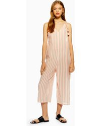 87e10a993ed Lyst - TOPSHOP Striped Jacquard Jumpsuit in Yellow