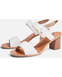 443a5c3097c4 Lyst - TOPSHOP Nancy Chunky Wooden Sandals in White