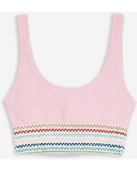 TOPSHOP - Pink Crinkle Bikini Top - Lyst