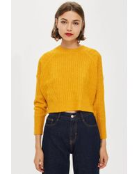 TOPSHOP - Petite Ribbed Cropped Jumper - Lyst