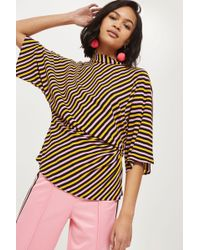 TOPSHOP - Striped Tuck Waist Blouse - Lyst