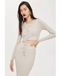 TOPSHOP - Cropped Popper Cardigan - Lyst