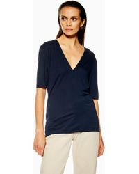 TOPSHOP - deep V T-shirt By Boutique - Lyst