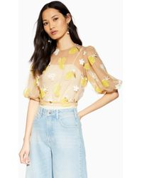156955efae16dc TOPSHOP Winter Fruit Print Wrap Blouse in Blue - Lyst