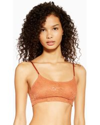2203a40f73d TOPSHOP Petite Lace Bardot Crop Top in White - Lyst