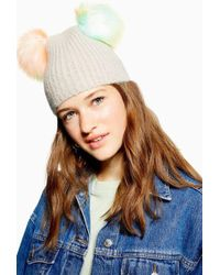 TOPSHOP - Beanie With Multicoloured Faux Fur Pom - Lyst