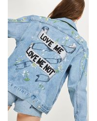 TOPSHOP   'love Me Not' Embroidered Denim Jacket   Lyst
