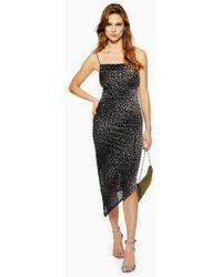 TOPSHOP - Animal Print Burnout Slip Dress - Lyst