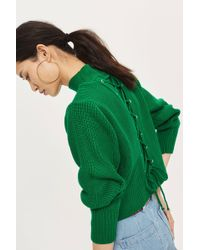 TOPSHOP - Lattice Back Funnel Neck Jumper - Lyst