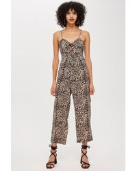 0615ab3a21c0 Lyst - Topshop Animal Dot Jumpsuit in Yellow