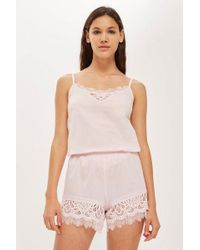 TOPSHOP - Premium Cotton And Lace Shorts - Lyst