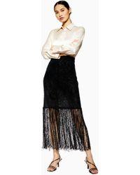 TOPSHOP - fringe Knit Skirt By Boutique - Lyst