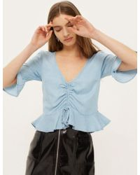 TOPSHOP - Moto Ruched Front Blouse - Lyst