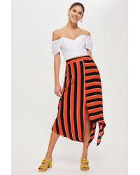 TOPSHOP - Bold Stripe Hanky Hem Skirt - Lyst